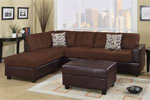 Poundex odalis f7266 brown microfiber sectional sofa in for Sectional sofa los angeles ca