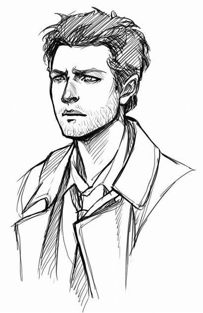 Drawing Sketches Sketch Castiel Handsome Draw Supernatural