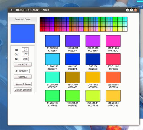 pin hexadecimal rgb color chart on