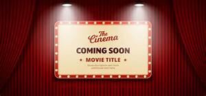 Coming soon movie in cinema design. old classic retro ...