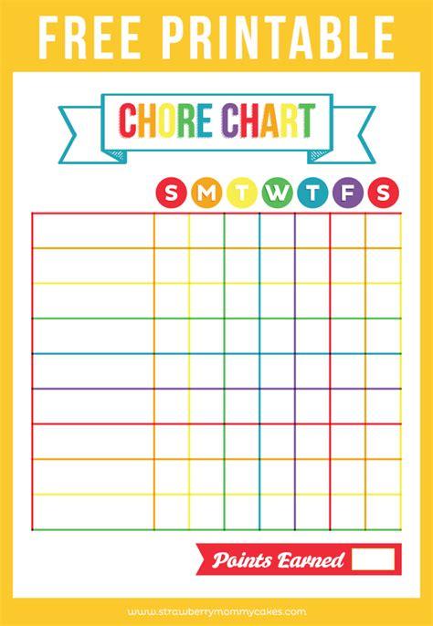 printable chore chart printable crush