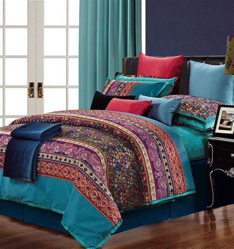 colorful duvet covers luxury colorful paisley design on teal 300 tc 100 cotton