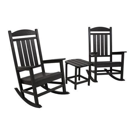 polywood rocking chair set polywood jefferson mahogany 3 patio rocker set