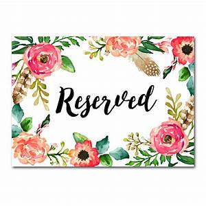 Wedding Sign Watercolor Flowers - Reserved - Instant