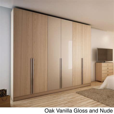 Bedroom Wardrobe Doors by Manhattan Comfort Downtown 6 Door Wardrobe Oak Vanilla