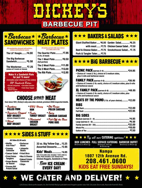 bbq pit sinking menu dickey s barbecue pit na id 83686 6106 yellowbook