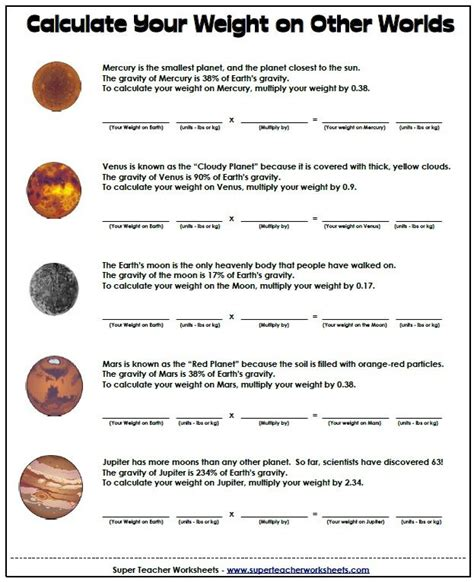 space math worksheet calculate your weight on other