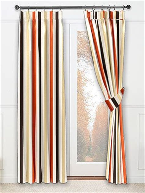 curtains stripes and terracotta on