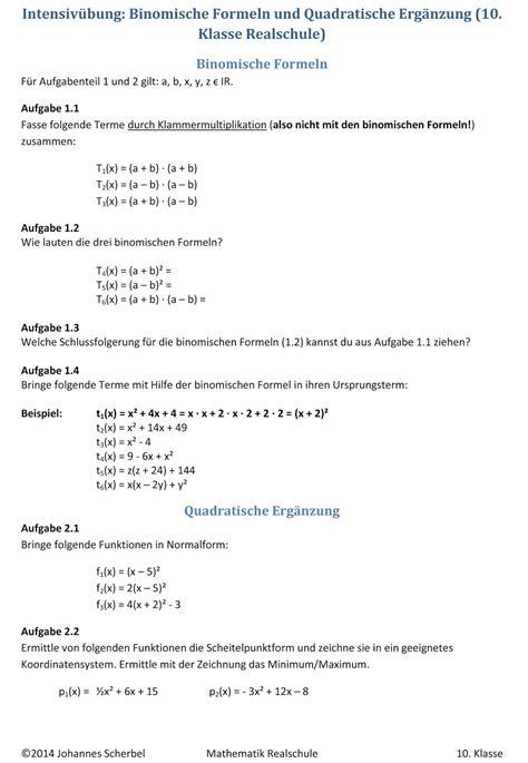 uebungsblaetter realschule binomische formeln und