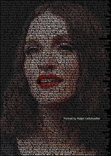 Madonna  Photography  Text Portrait
