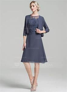 a line princess scoop neck knee length chiffon mother of With robe de belle mère