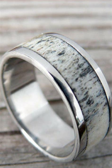 mens silver titanium deer antler wedding ring