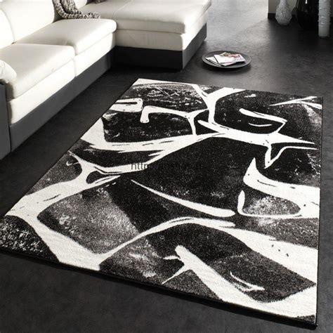 grands tapis design salon gris noir  blanc pas cher