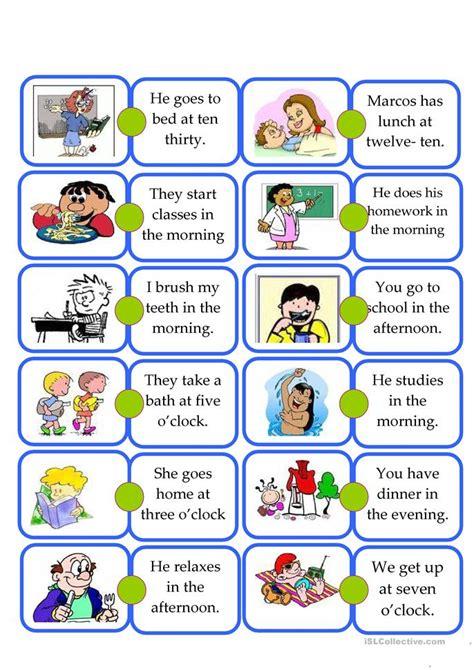 domino daily routine kids worksheet  esl printable worksheets   teachers
