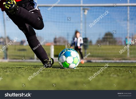 Closeup Young Soccer Player Taking Penalty Stock Photo