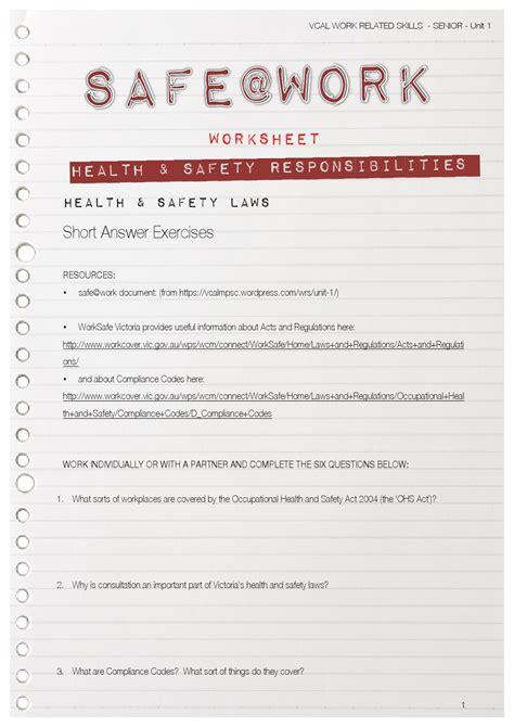 vcal work related skills worksheets safe work 1 worksheet by mr k issuu