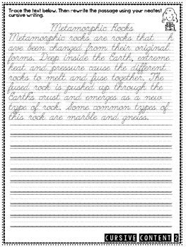cursive content science cursive practice passages