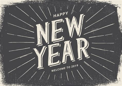 Vintage Style Happy New Year 2019 Illustration