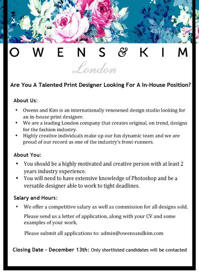 Inhouse Print Designer Vacancy  Owens & Kim. Education On Resumes. Resume Power Words List. Proper Resume Cover Letter Format. Digital Media Resume Examples. Graduate School Application Resume Sample. What To Write In A Subject Line In Emailing Resume. Sample Resume Of Hr Executive. Create A Resume For Free Online
