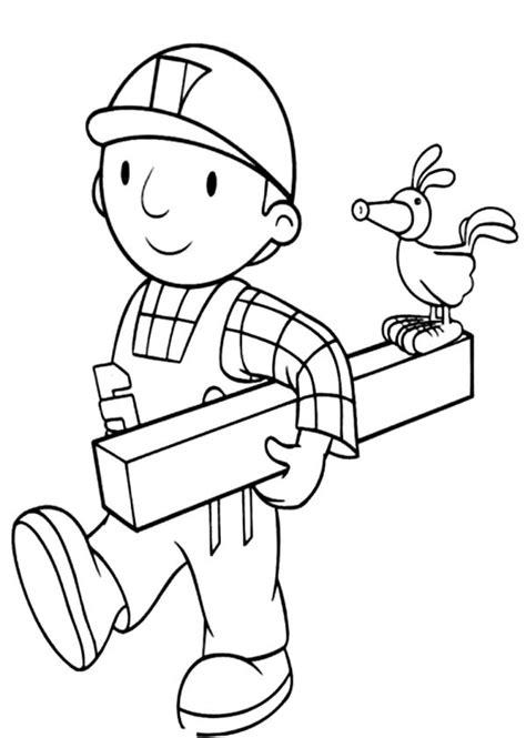bob  builder  holding  wood coloring page bob