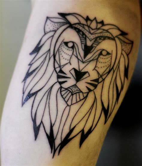 geometric lion tattoo ideas  pinterest