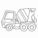 Coloring Construction Outline Mixer Concrete Vehicles Cartoon Betonmischer Farbbuch Karikaturen Baufahrzeuge Kinder Aus Equipment Illustrationen sketch template