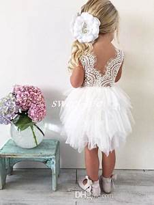 Cute Boho Wedding Flower Girl Dresses For Toddler Infant Baby White Lace Ruffles Tulle Jewel