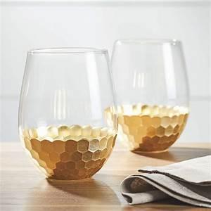Better, Homes, U0026, Gardens, Stemless, Honeycomb, Gold, Wine, Glasses, 2, Piece, -, Walmart, Com