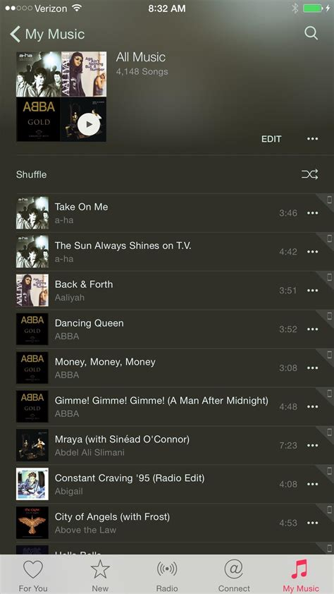 how to shuffle all songs on iphone how to shuffle all songs in apple s new app in ios 8