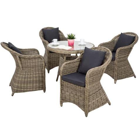 depot vente cuisine salon de jardin zurich 4 chaises fauteuils 1 table ronde résine tressée poly rotin structure