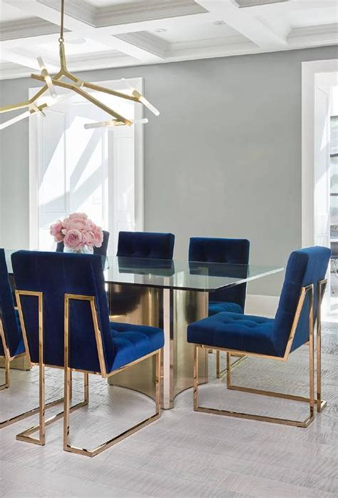 sapphire blue velvet tufted dining chairs contemporary