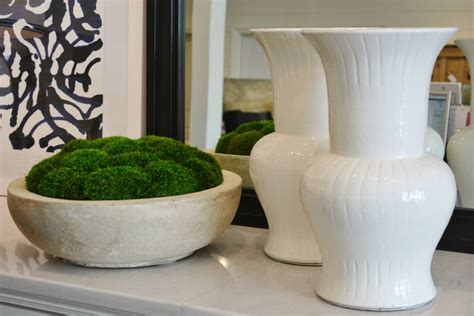 This tabletop decoration not only looks fantastic on its own but can also be used to hold various items around the house. What's New Wednesday: Preserved Moss Centerpieces - Heather Scott Home & Design