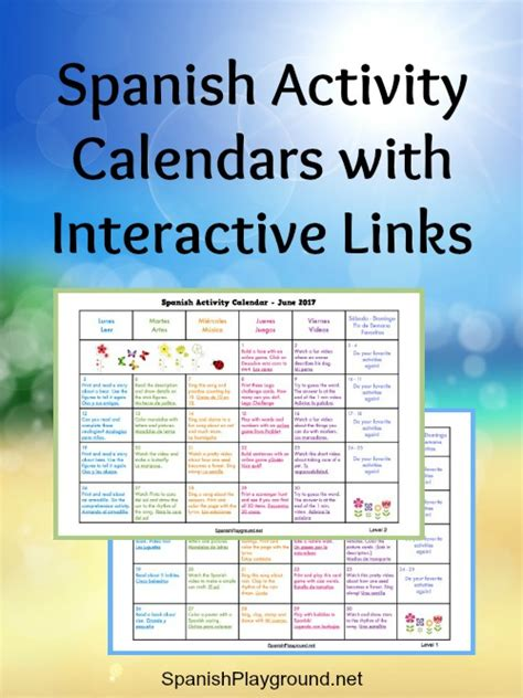 spanish activity calendars  kids spanish playground
