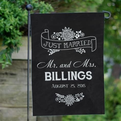 just married flag personalized wedding day garden flag