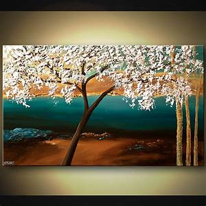 Painting - flowering almond tree on landscape backgrond #5902