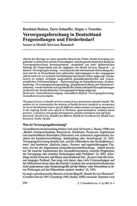 F F Deutschland by Pdf Versorgungsforschung In Deutschland Fragestellungen