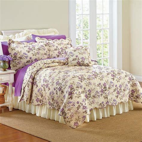 floral quilt bedding beautiful lavender purple floral white size