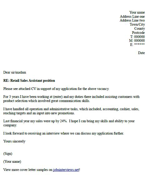 retail sales assistant cover letter  job hunt
