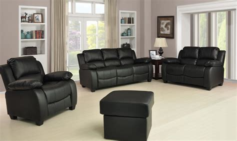 3 2 1 Sofa Set by New Valerie Luxury Leather Sofa Suite Black Brown 3