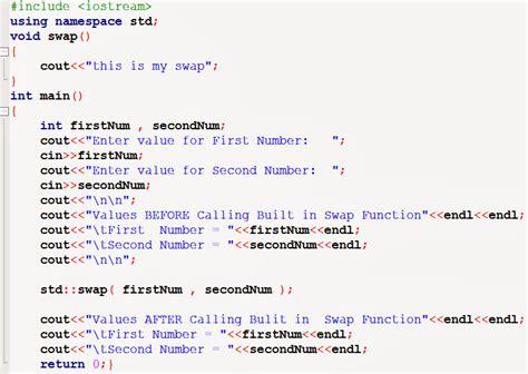 C++ Program To Swap Two Numbers Using Built In Swap