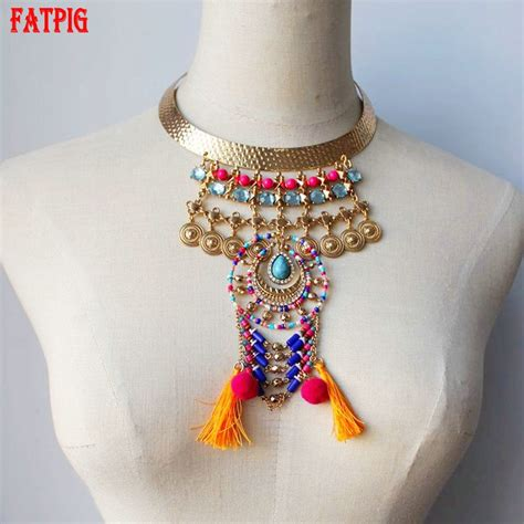 Tassel Ethnic Torques Black bohe torques necklaces fashion vintage ethnic alloy
