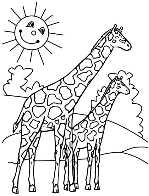 giraffes coloring pages    print