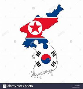 North Korean and South Korean map flag banner country ...
