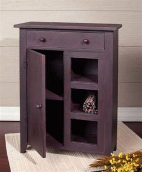 primitive small cabinet door open shelves rust