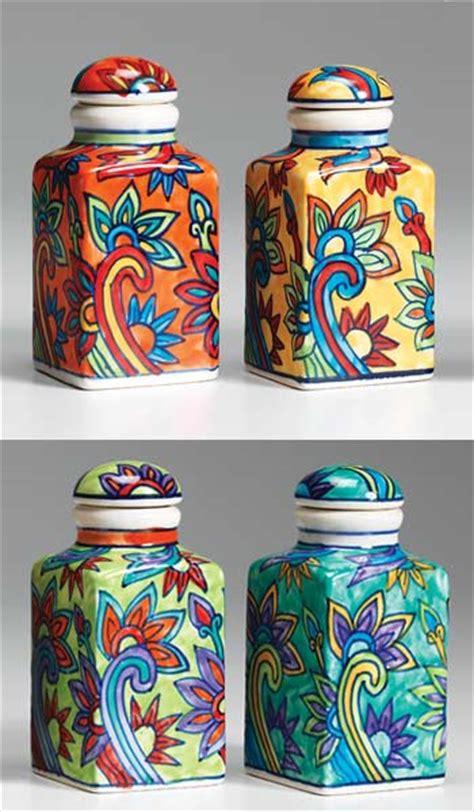 hand painted ceramic spice jar ceramic storage chests