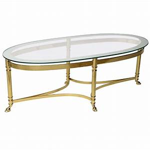 Oval brass coffee table with mirrored rim glass top at 1stdibs for Oblong glass coffee table