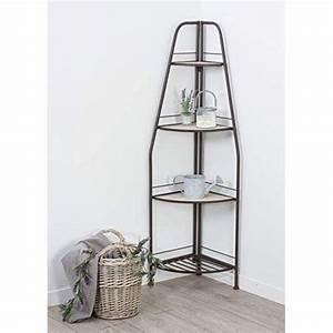 Etagere D Angle En Bois : meuble tag re d 39 angle 4 niveaux en m tal et 3 plateaux en ~ Dailycaller-alerts.com Idées de Décoration