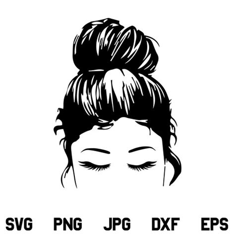 This is a free software version for silhouette cameo. Messy Bun SVG, Hair Bun, Girl with Lashes, Top knot SVG ...