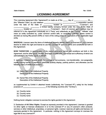 Photo License Agreement Template by Licensing Agreement Template Create A Free License Agreement