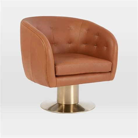 tufted pedestal leather swivel chair west elm